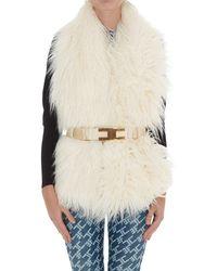 Elisabetta Franchi Belted Faux Fur Scarf - White