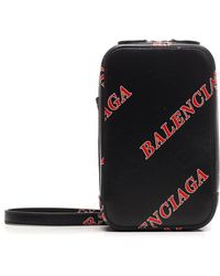 Balenciaga Sporty Strapped Phone Holder - Black