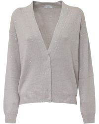 Brunello Cucinelli Sequin Embellished Cardigan - Grey