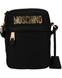 Moschino Paint Effect Logo Shoulder Bag - Black