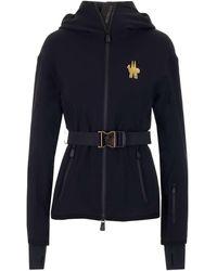 3 MONCLER GRENOBLE Logo Embroidered Belted Waist Sweatshirt - Black