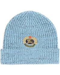 Burberry Logo Crest Embroidered Knit Beanie - Blue