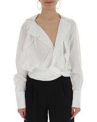 Jacquemus V Neck Knot Effect Draped Shirt - White
