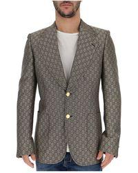 Gucci Metallic Slim Fit Blazer - Grey