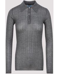 Prada Rib Knit Polo Shirt - Gray