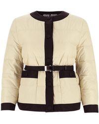 Miu Miu Stud Fastening Puffer Jacket - White
