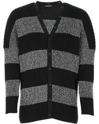Balenciaga Logo Back Stripe Rib Knit Cardigan - Black