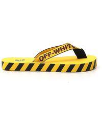 Off-White c/o Virgil Abloh Logo Tape Thong Sandals - Yellow