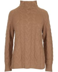Max Mara High-neck Cable Knit Jumper - Brown