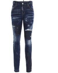 DSquared² Distressed Jennifer Jeans - Blue