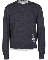 Maison Margiela Ripped Detail Knit Sweater - Gray