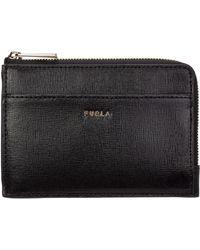Furla Women's Genuine Leather Credit Card Case Holder Wallet Babylon - Black