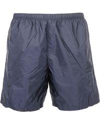 Prada Logo Detail Swim Shorts - Blue