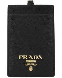 Prada Logo Plaque Badge Holder - Green