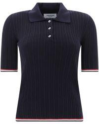 Thom Browne Ribbed Short-sleeve Polo Shirt - Blue