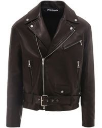 Palm Angels Leather Biker Jacket - Black
