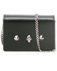Alexander McQueen Skull Stud Chain Strap Wallet - Black