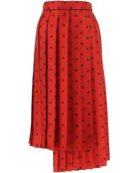 Fendi Ff Karligraphy Printed Pleated Skirt - Red