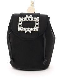 Roger Vivier Mini Backpack In Satin - Black