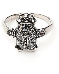Alexander McQueen Skull Gemstone Ring - Metallic
