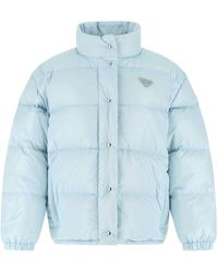 Prada Light Blue Nylon Down Jacket Nd