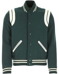 Saint Laurent Teddy Varsity Jacket - Green
