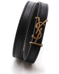 Saint Laurent Logo Mocassins Bracelet - Black