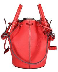 Tod's Logo Patch Mini Bucket Bag - Red