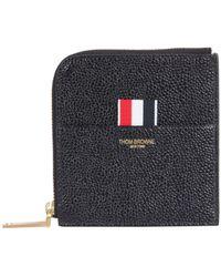 Thom Browne Logo Zipped Wallet - Black