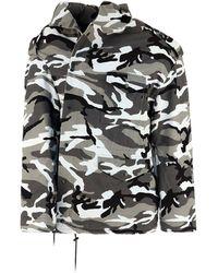 Balenciaga Off-shoulder Military Parka Coat - Multicolour