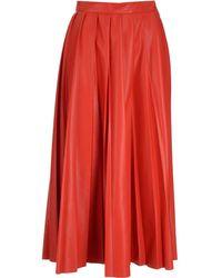 MSGM Pleated Midi Skirt - Red