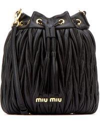 Miu Miu Matelassé Tassel Bucket Bag - Black