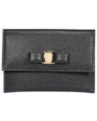 Ferragamo Vara Bow Card Case - Black
