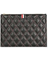 Thom Browne Quilted Document Holder - Black