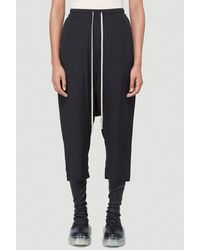 Rick Owens Drop-crotch Cropped Track Trousers - Black