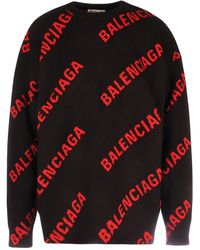 Balenciaga Allover Logo Knit Sweater - Black