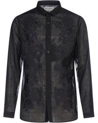 Saint Laurent Embroidered Semi Sheer Shirt - Black
