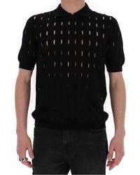 Fendi Cut-out Detail Polo Shirt - Black