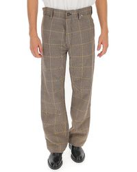 Marni Tartan Wide-leg Pants - Gray