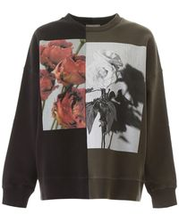 Alexander McQueen Two-tone Rose Print Sweatshirt - Gray