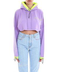 Marcelo Burlon Oversized Cropped Sweatshirt - Purple