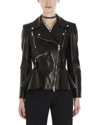 Alexander McQueen Leather Peplum Biker Jacket Black