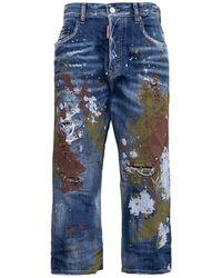 DSquared² Kawaii Crop Jeans With Colour Slash Details - Blue