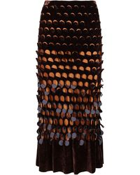 Maison Margiela High Waist Midi Skirt - Brown