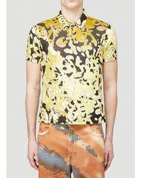 Eckhaus Latta Shrunk Velvet-weave Polo Shirt - Yellow