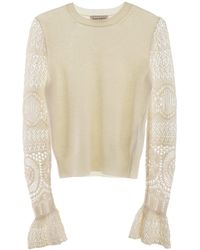 Alexander McQueen Lace Sleeved Pullover - Natural