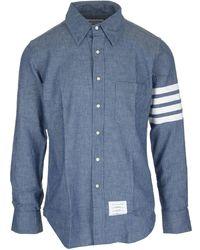 Thom Browne 4-bar Chambray Shirt - Blue