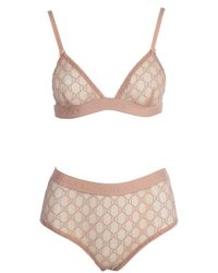 Gucci Pink Tulle GG Lingerie Set