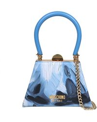 Moschino Painted Effect Chained Tote Bag - Blue