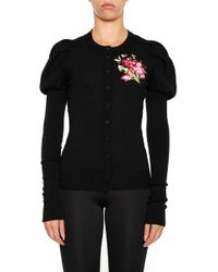 Dolce & Gabbana - Flower Embroidered Puff Sleeve Cardigan - Lyst